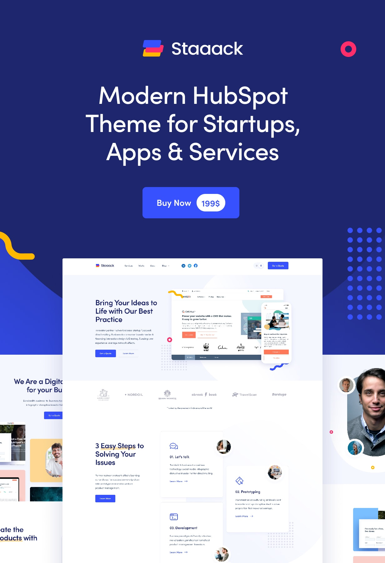 Staaack - Modern HubSpot Theme for Startups, Apps & Services - 1