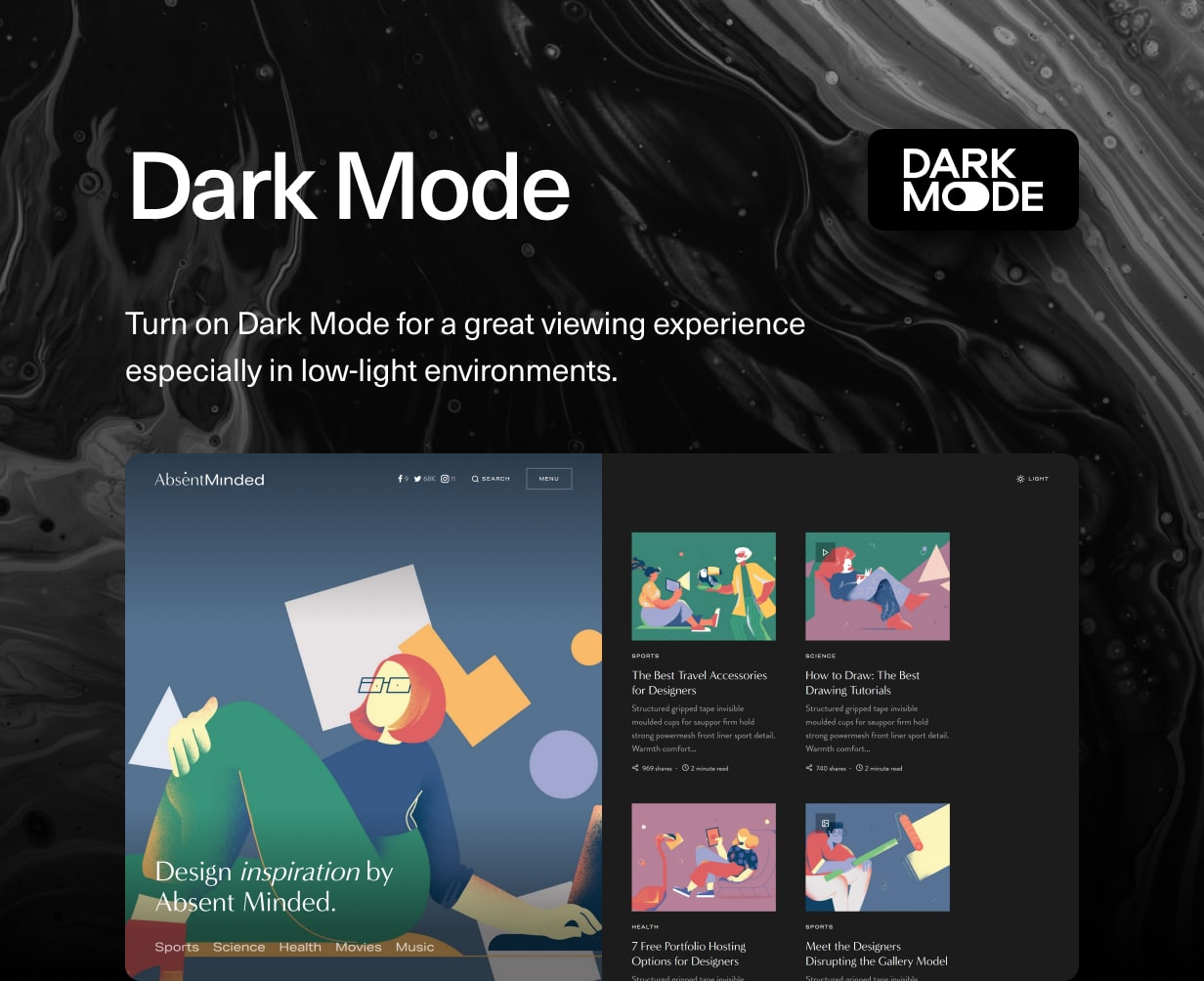 Uppercase - WordPress Blog Theme with Dark Mode - 3