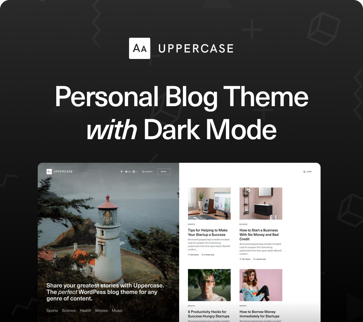 Uppercase - WordPress Blog Theme with Dark Mode - 1